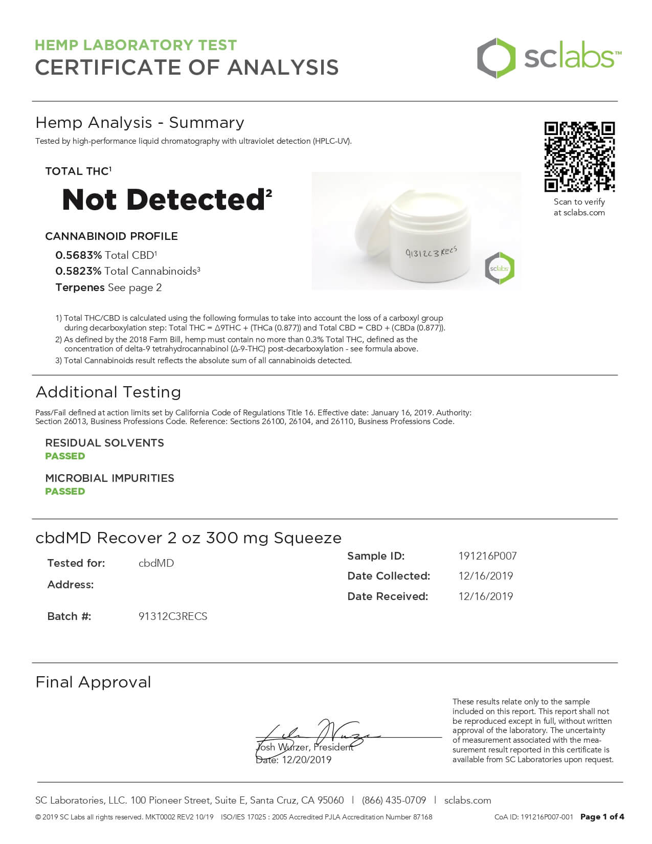 cbdMD CBD Topical Recover Inflammation Cream 2oz Squeeze 300mg Lab Report