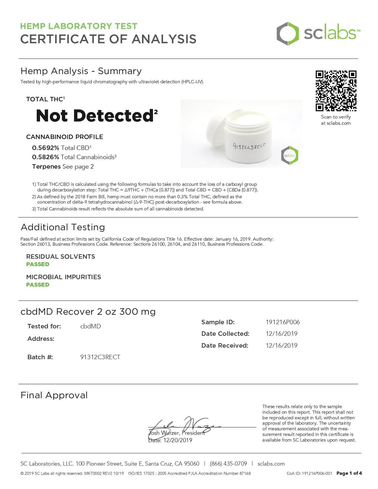 cbdMD CBD Topical Recover Inflammation Cream 2oz Tub 300mg Lab Report