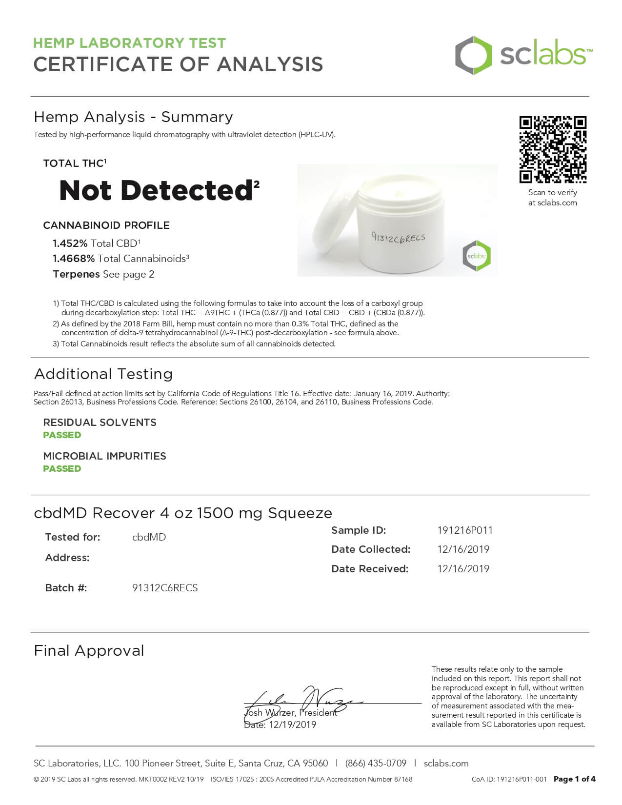cbdMD CBD Topical Recover Inflammation Cream 4oz Squeeze 1500mg Lab Report