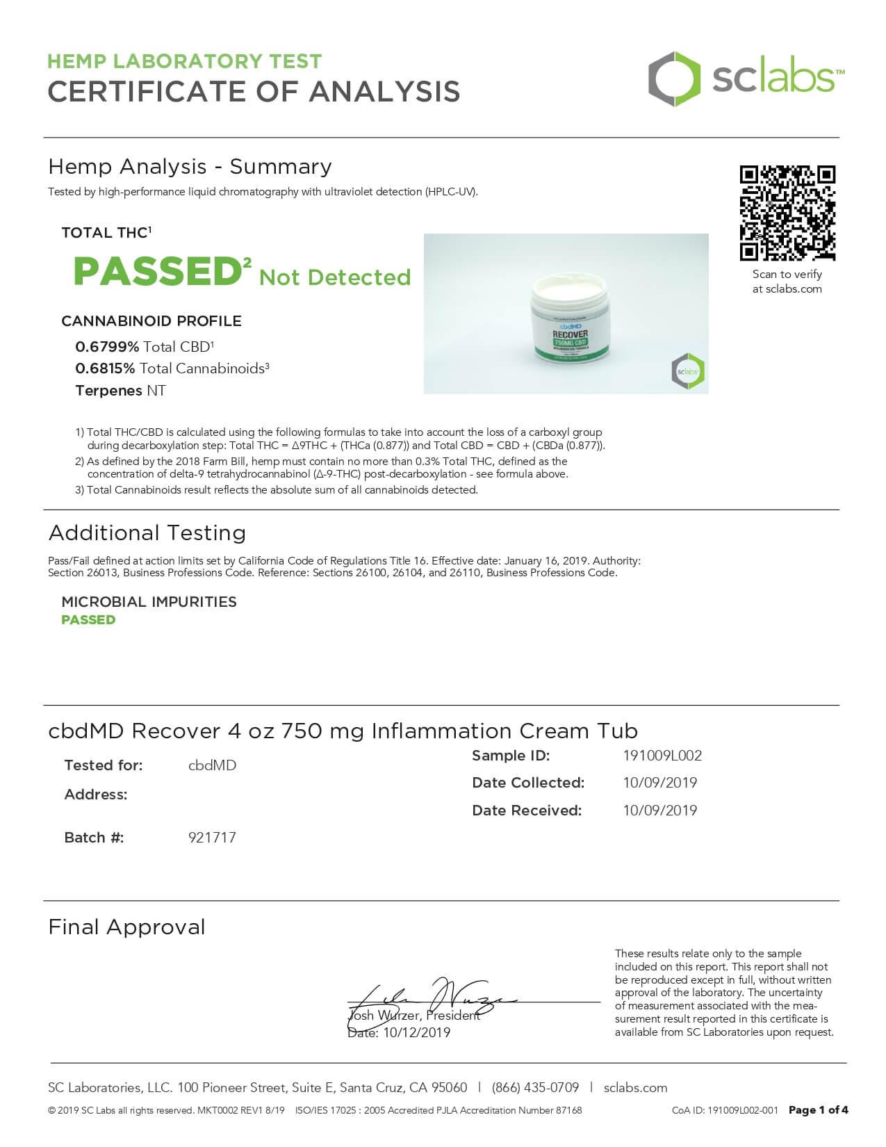 cbdMD CBD Topical Recover Inflammation Cream 4oz Tub 750mg Lab Report