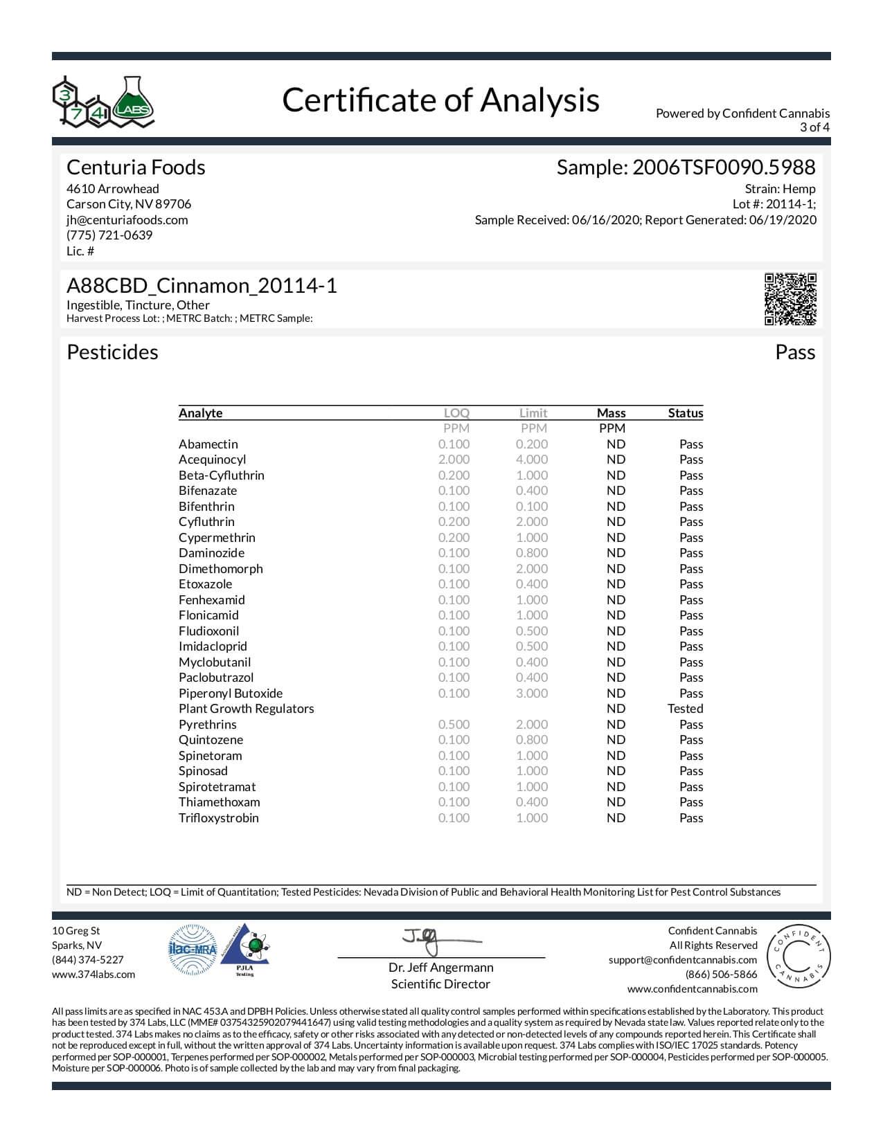 A88 CBD Tincture Broad Spectrum Cinnamon Lab Report