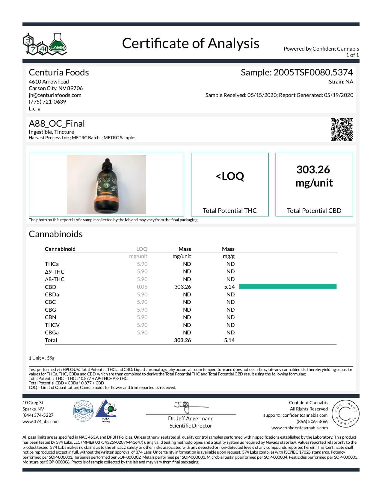 A88 CBD Tincture Broad Spectrum Orange Cream Lab Report