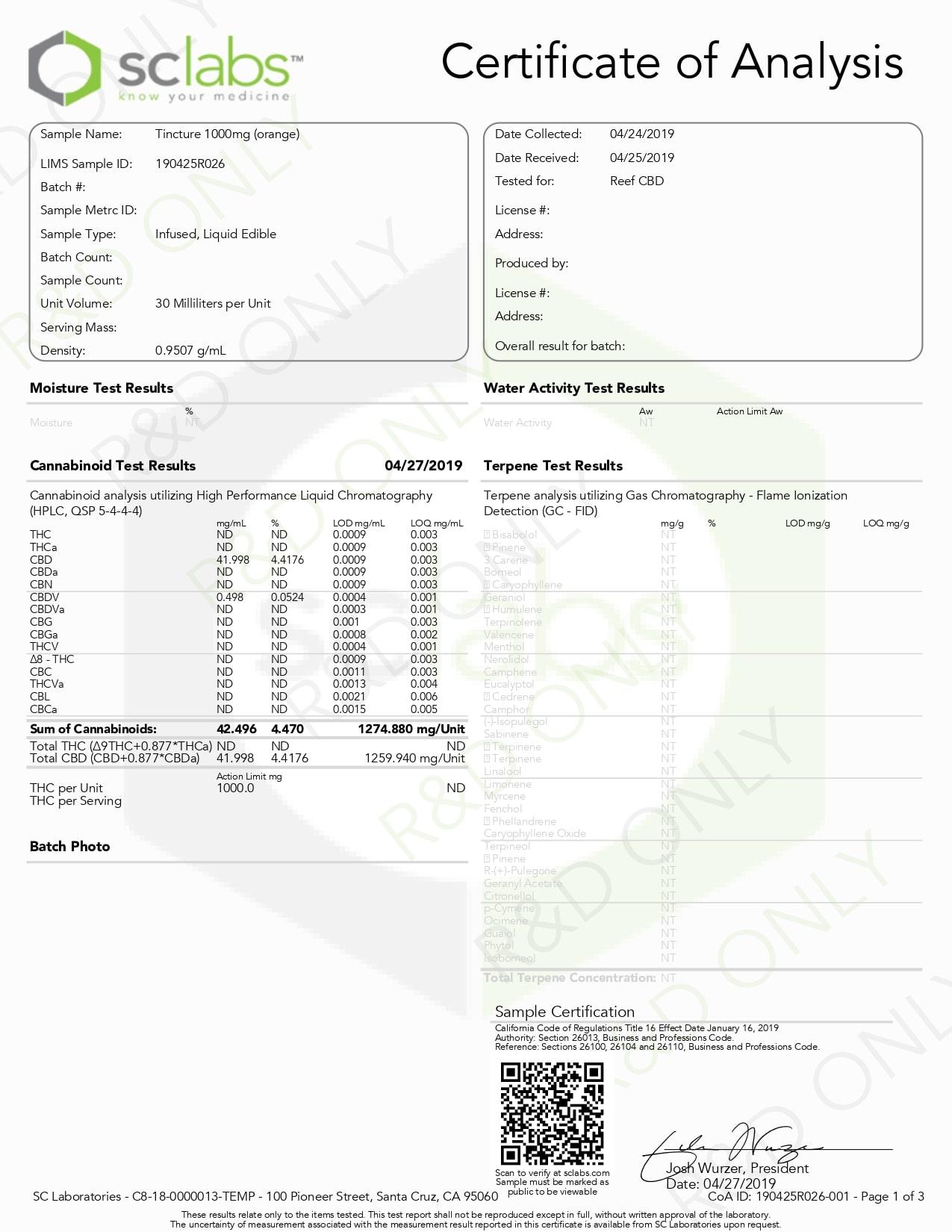 AndHemp CBD Tincture Orange Lab Report 500mg