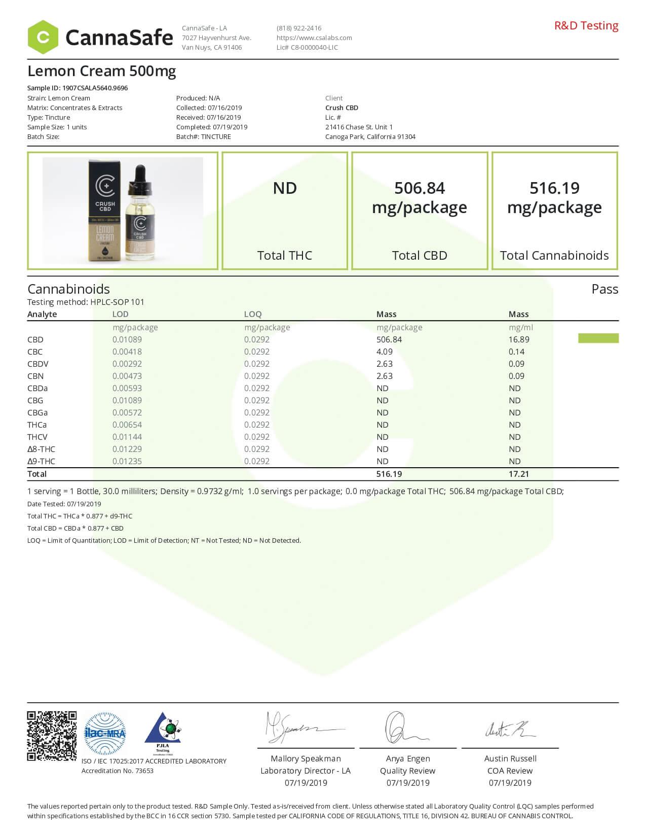 Crush CBD Tincture Lemon Cream 500mg Lab Report