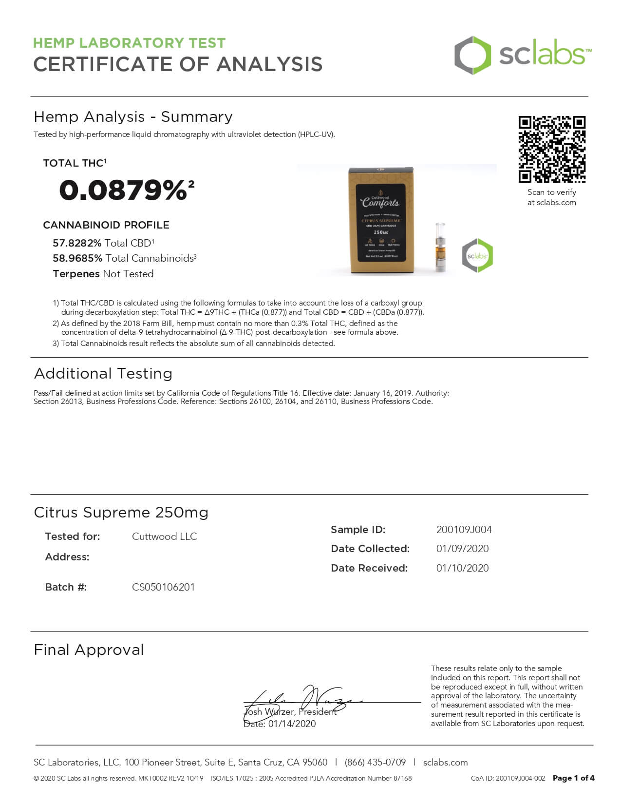 Cuttwood Comforts CBD Vape Cartridge Full Spectrum Citrus Supreme 250mg Lab Report