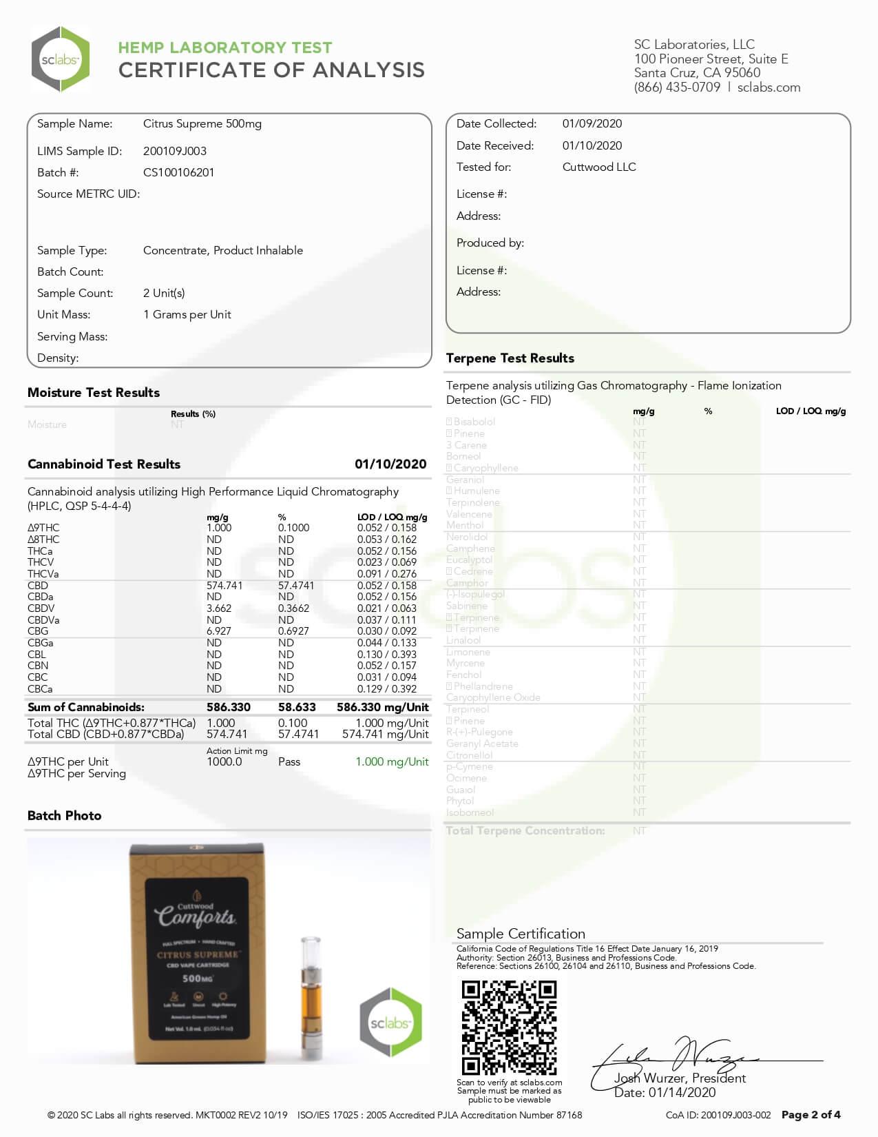 Cuttwood Comforts CBD Vape Cartridge Full Spectrum Citrus Supreme 500mg Lab Report