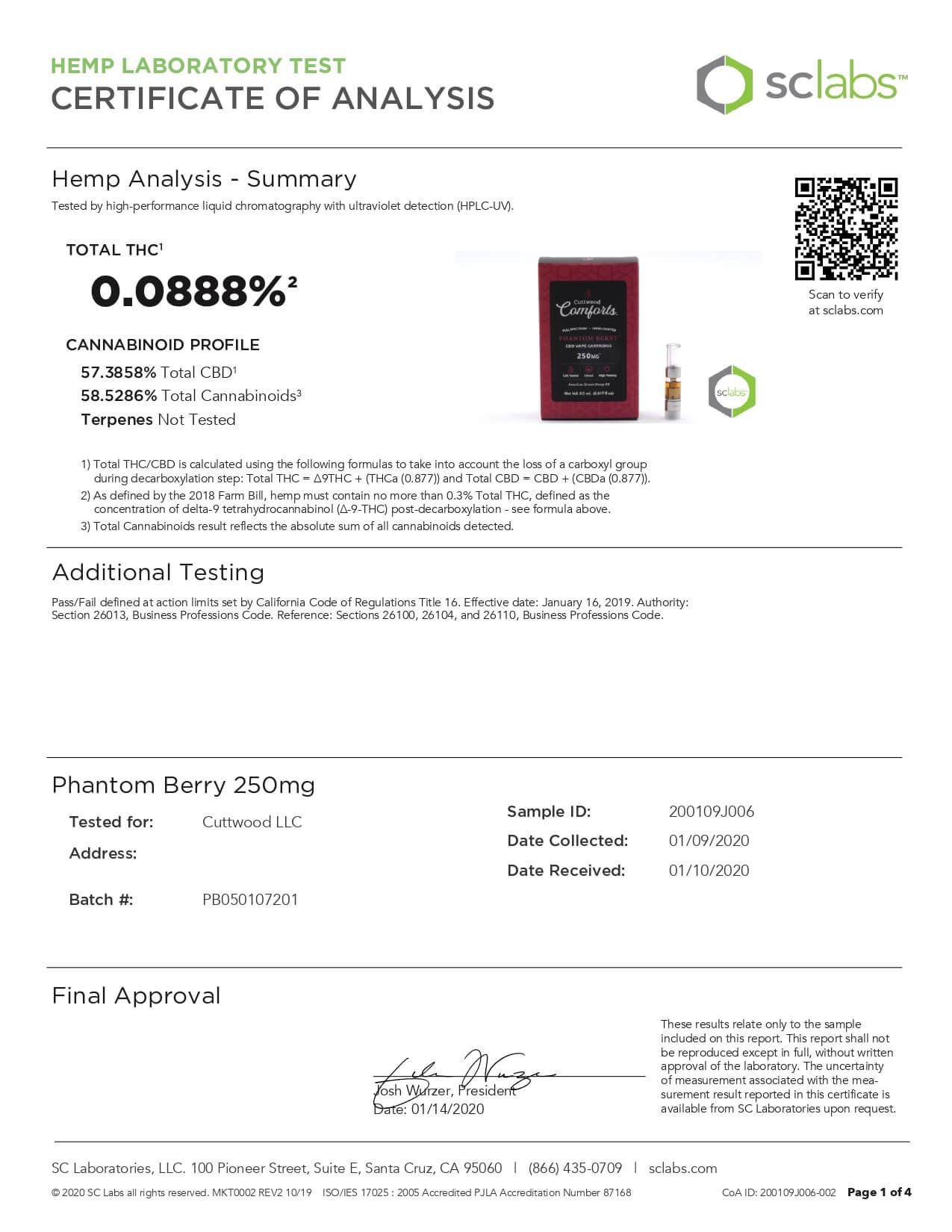 Cuttwood Comforts CBD Vape Cartridge Full Spectrum Phantom Berry 250mg Lab Report