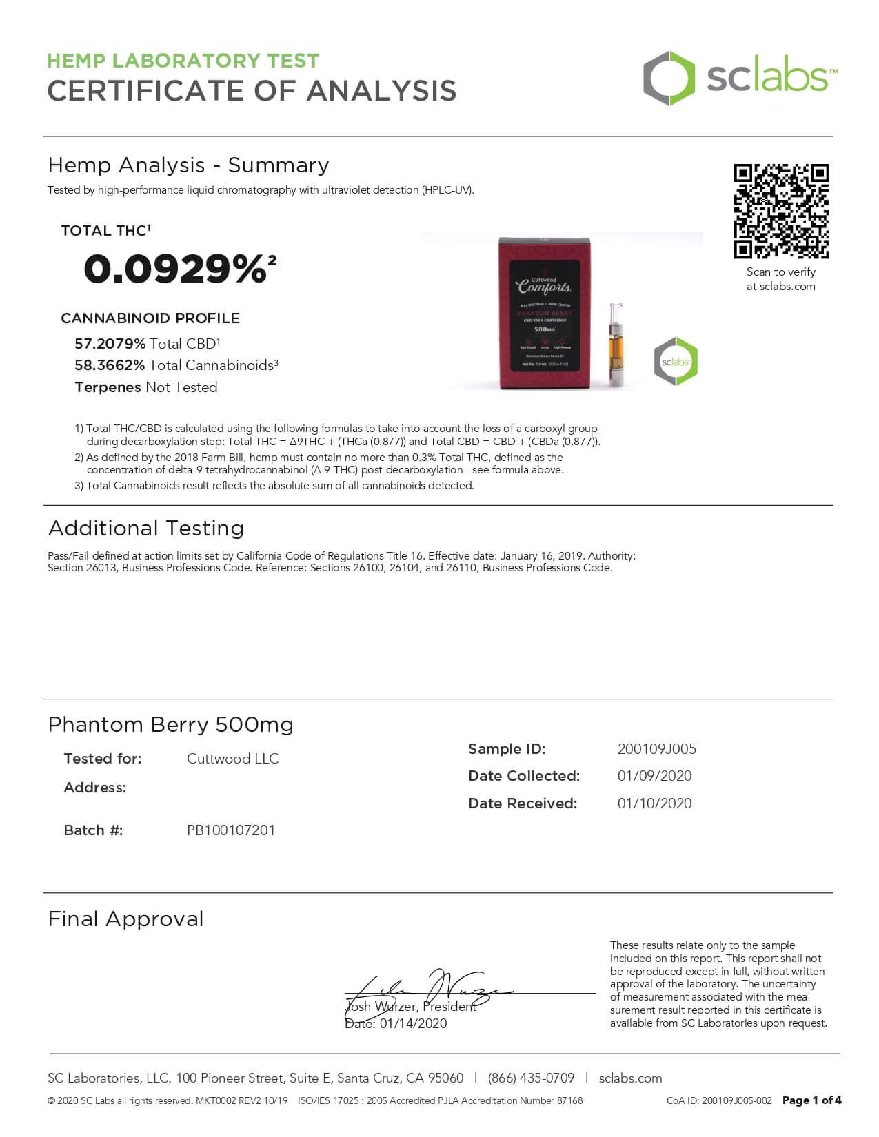 Cuttwood Comforts CBD Vape Cartridge Full Spectrum Phantom Berry 500mg Lab Report