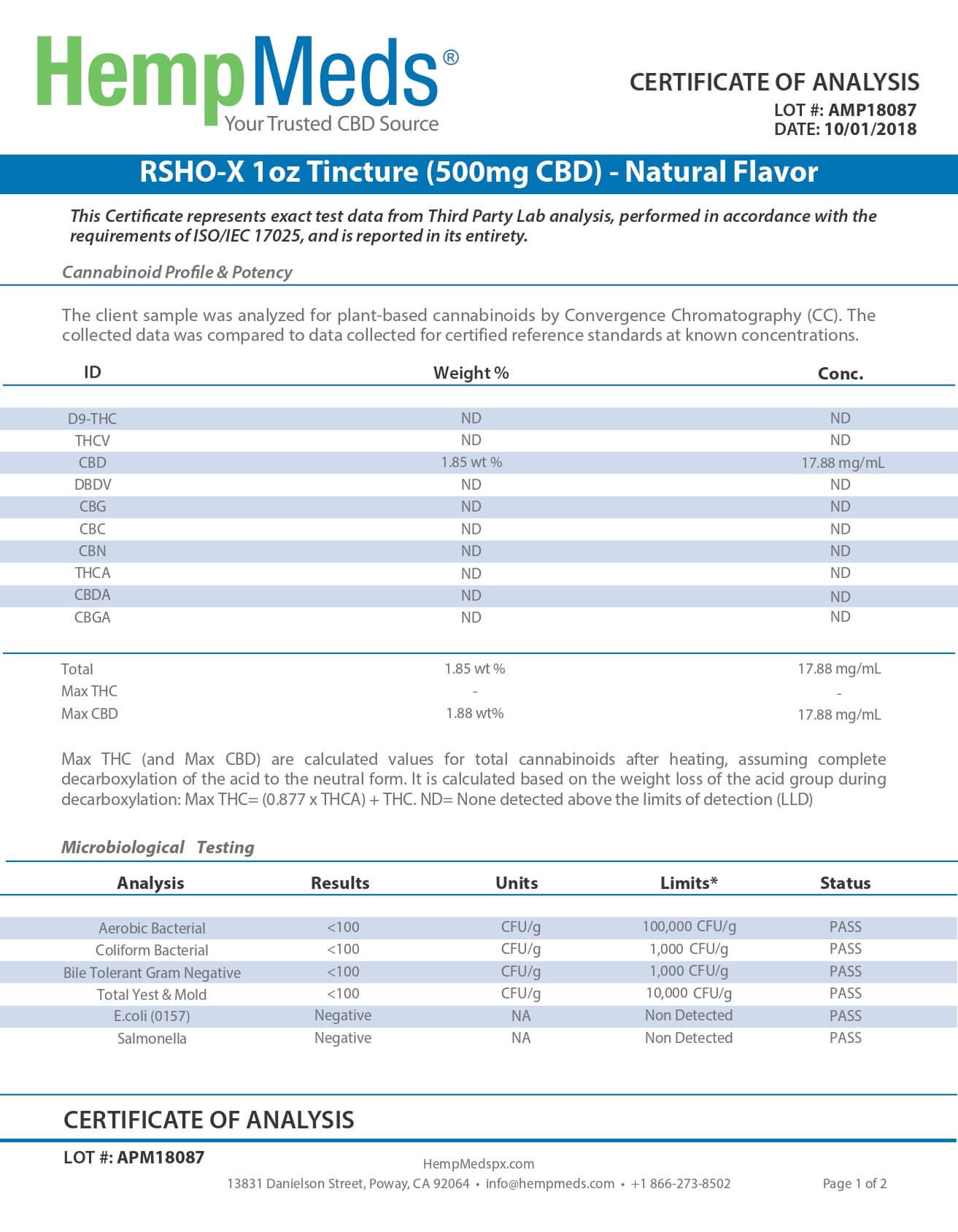 Dixie Botanicals CBD Tincture Natural Flavor 2oz Dew Drops 500mg Lab Report