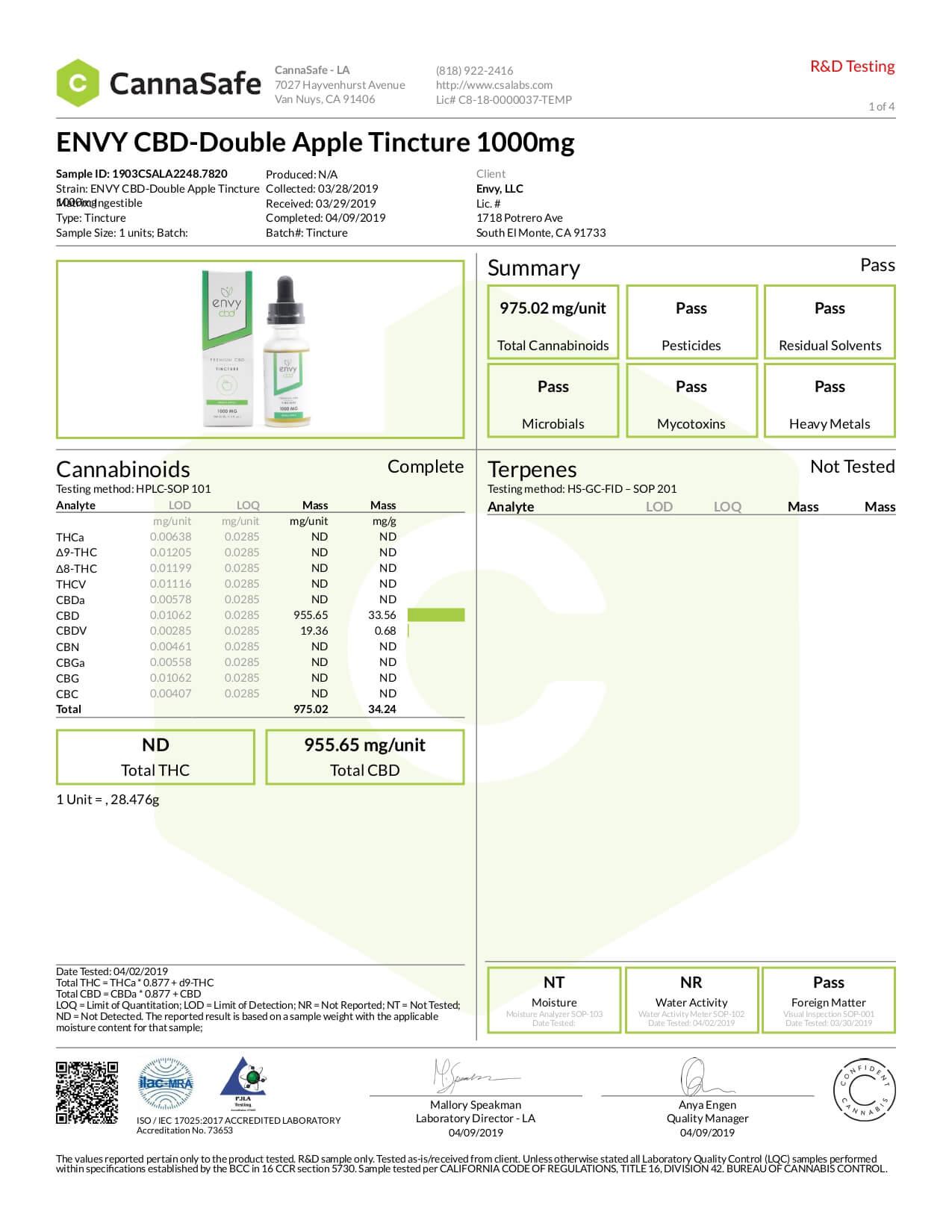 ENVY CBD Tincture Double Apple 1000mg Lab Report