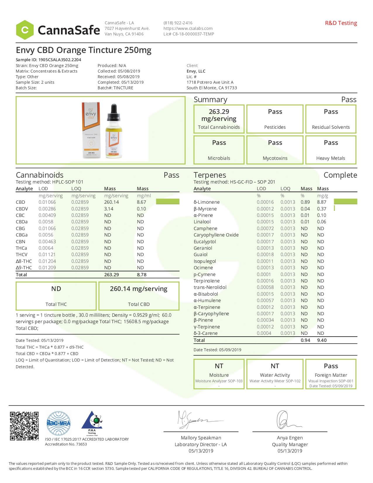 ENVY CBD Tincture Orange 250mg Lab Report