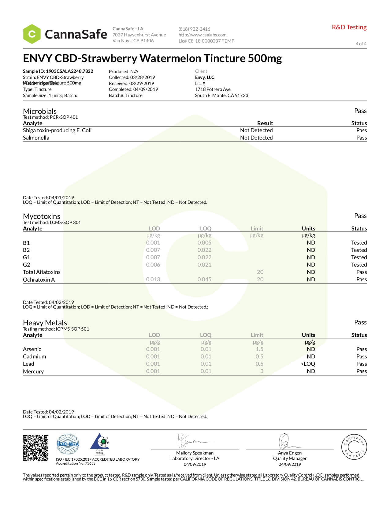 ENVY CBD Tincture Strawberry Watermelon 500mg Lab Report