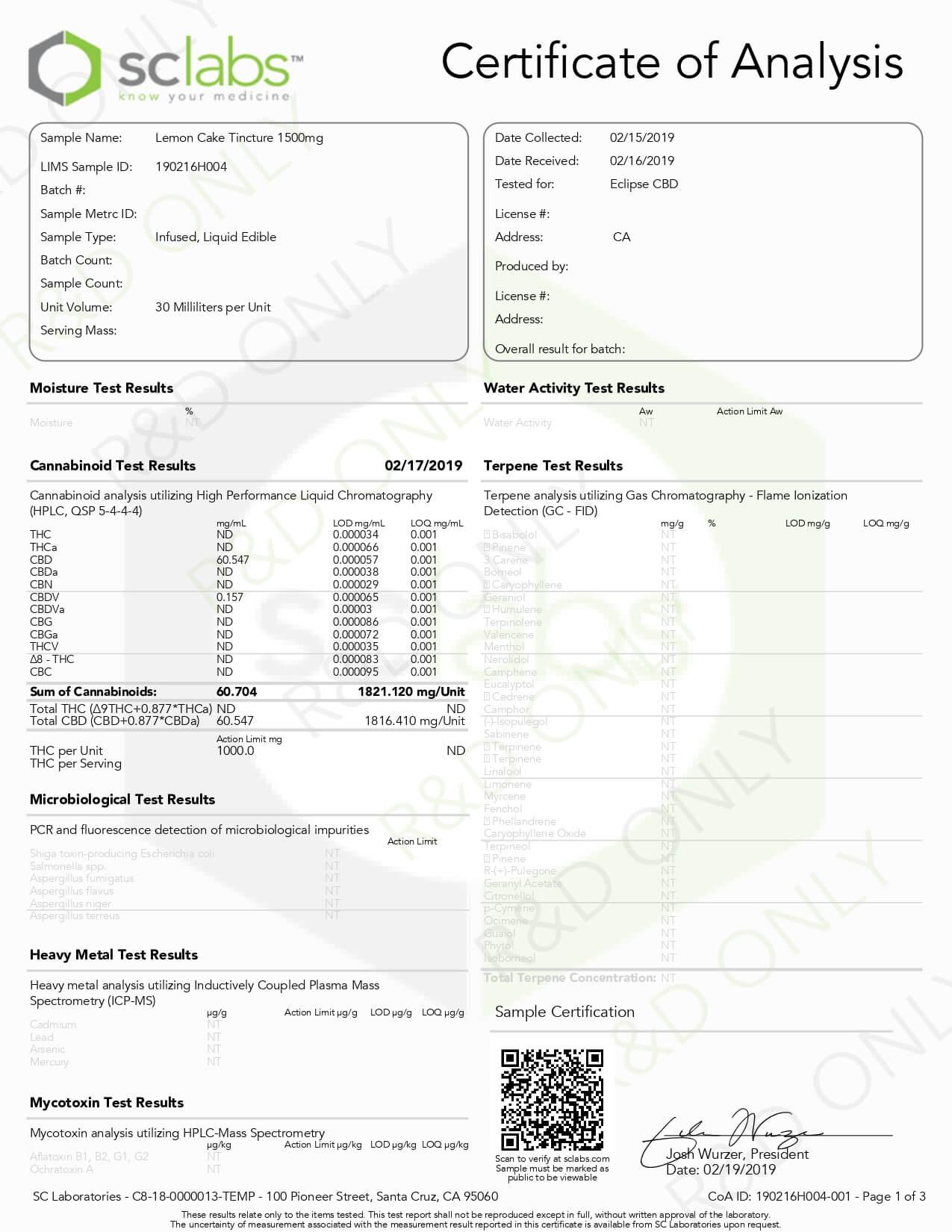 Eclipse CBD MCT Tincture Lemon Cake 1500mg Lab Report