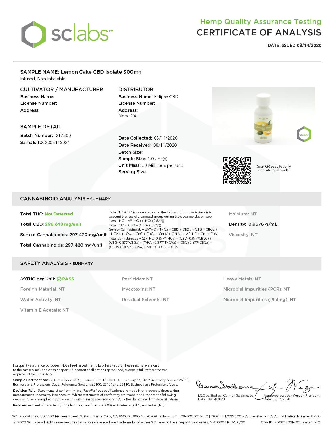 Eclipse CBD MCT Tincture Lemon Cake 300mg Lab Report