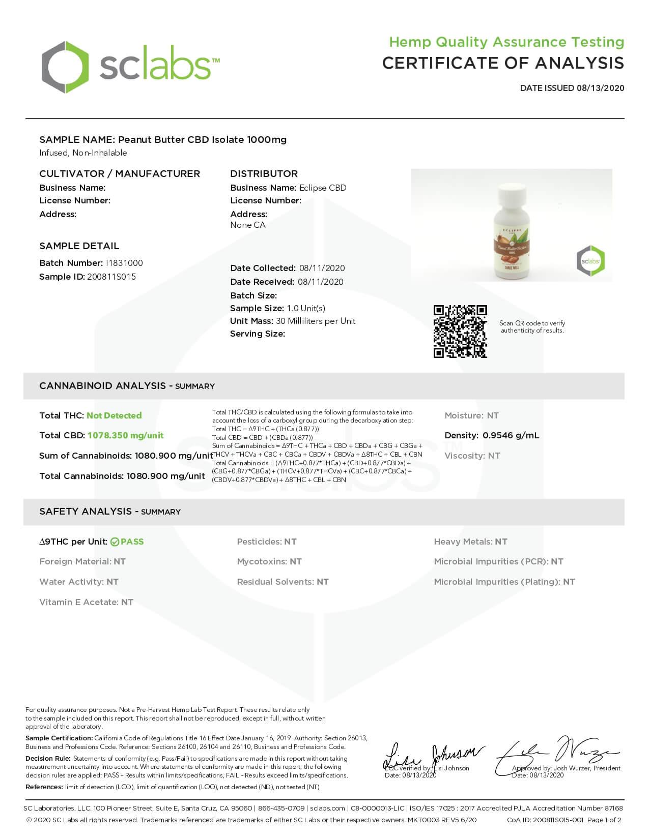 Eclipse CBD MCT Tincture Peanut Butter 1000mg Lab Report