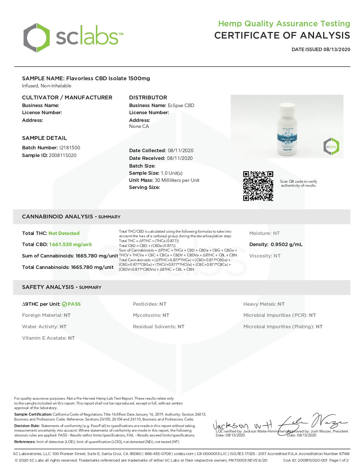 Eclipse CBD MCT Tincture Unflavored 1500mg Lab Report