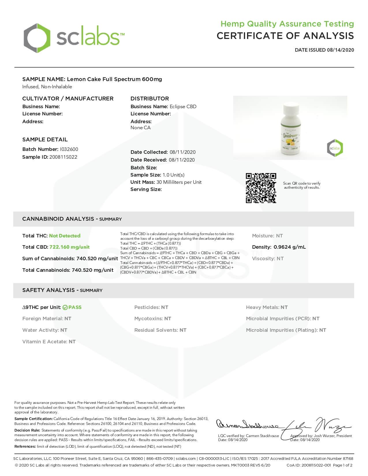 Eclipse CBD Tincture Full Spectrum Lemon Cake 600mg Lab Report
