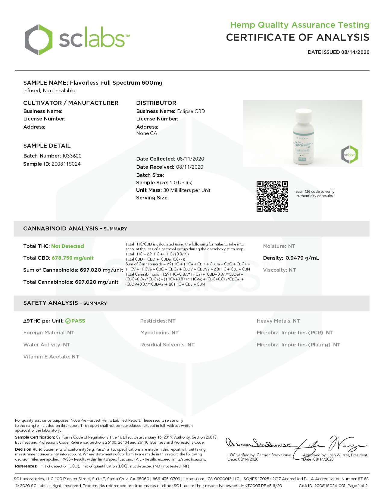 Eclipse CBD Tincture Full Spectrum Unflavored 600mg Lab Report