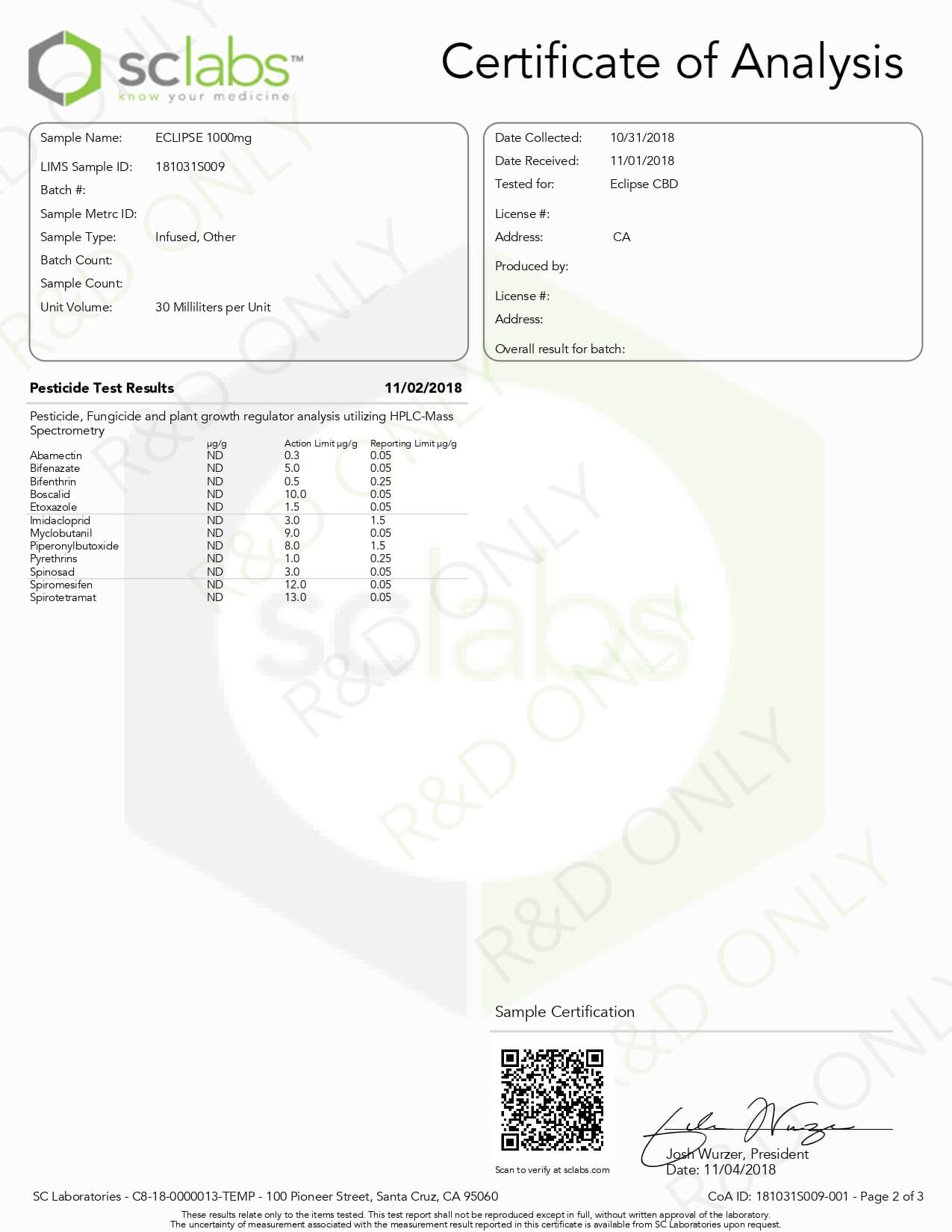 Eclipse CBD Tincture Isolate 1000mg Lab Report