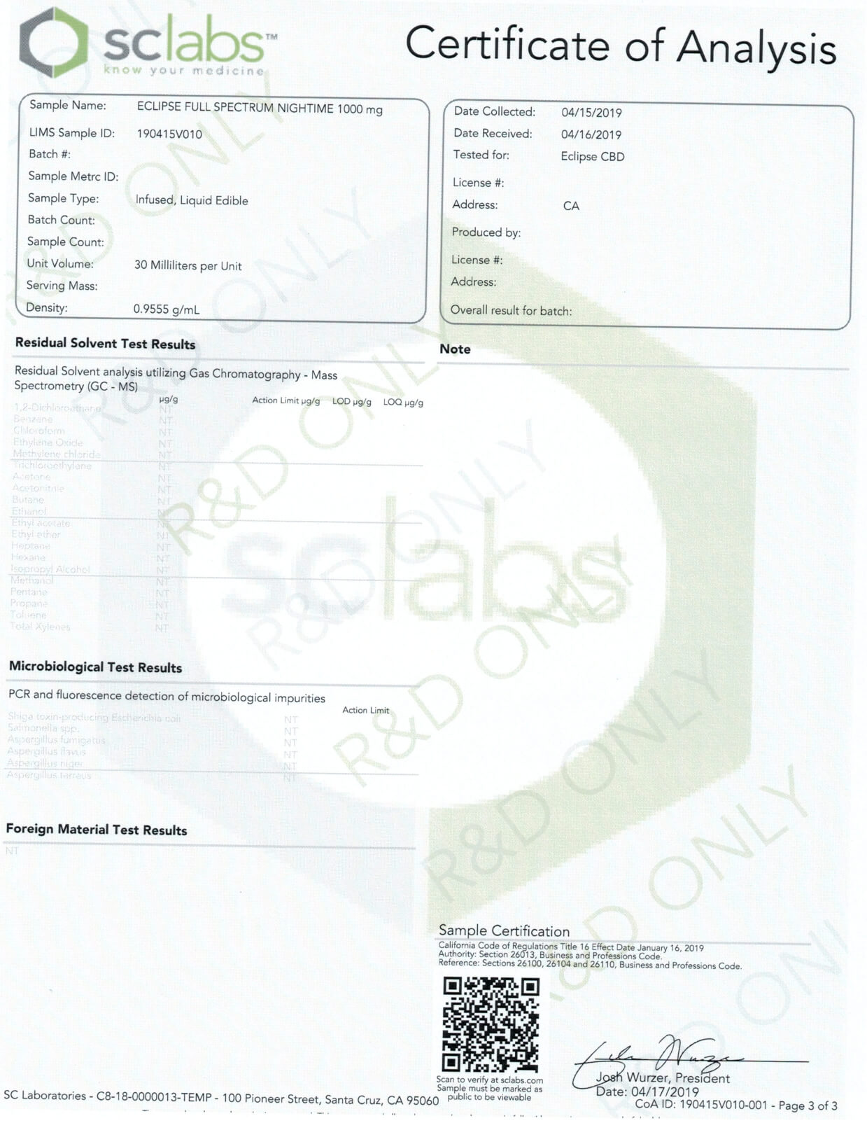 Eclipse CBD Tincture Lemon Cake Night Time 1000mg Lab Report