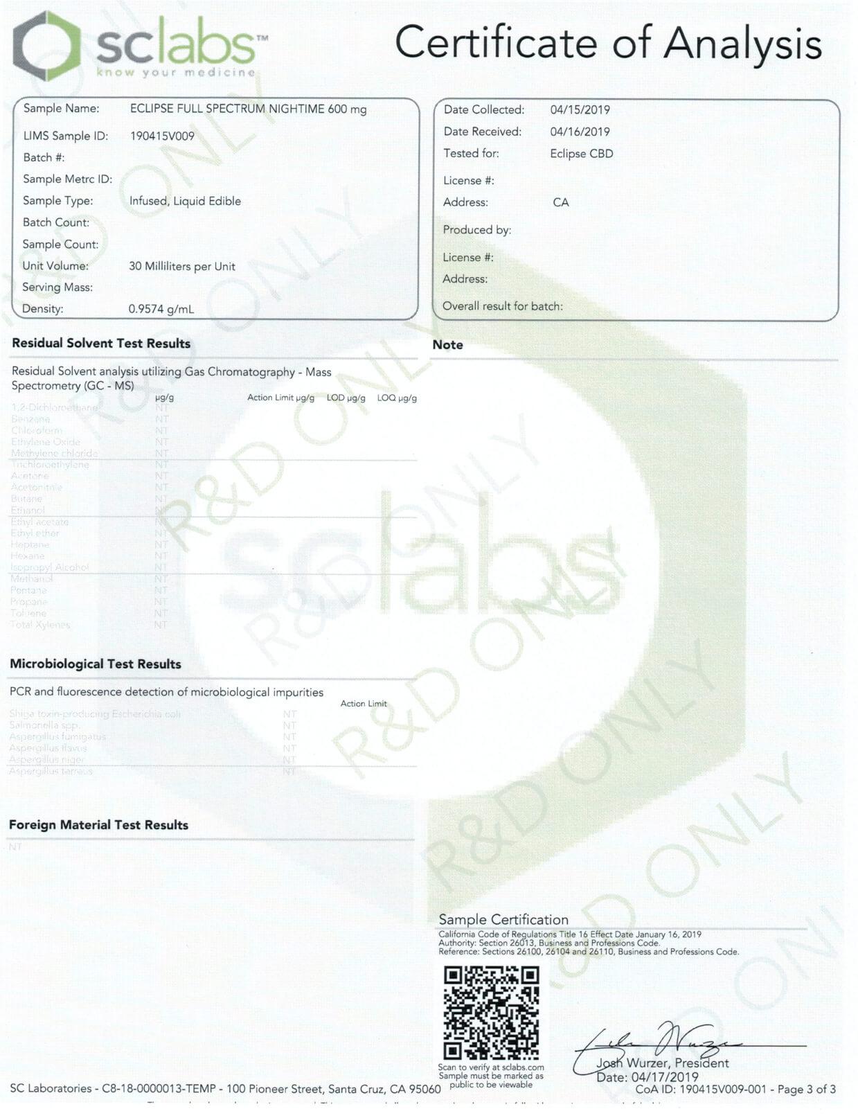 Eclipse CBD Tincture Lemon Cake Night Time 600mg Lab Report