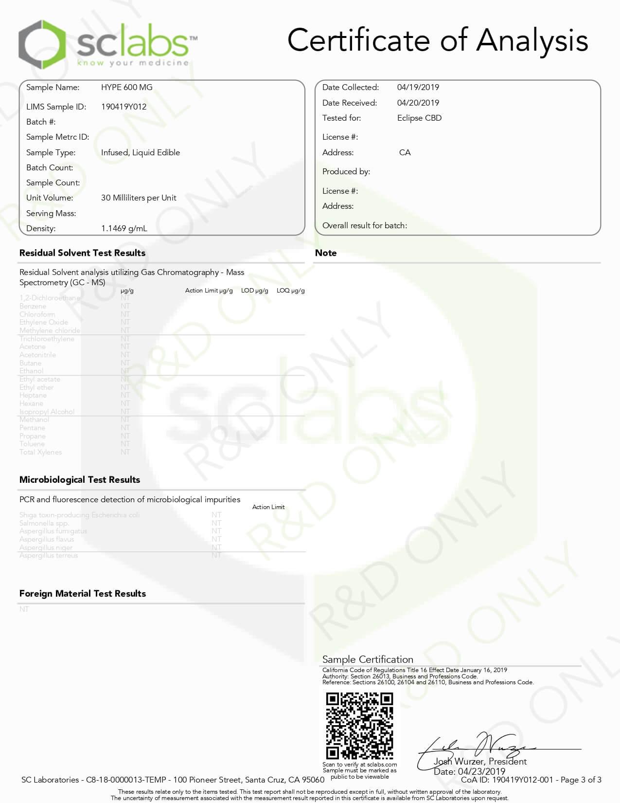 Eclipse CBD Vape Juice Hype 600mg Lab Report