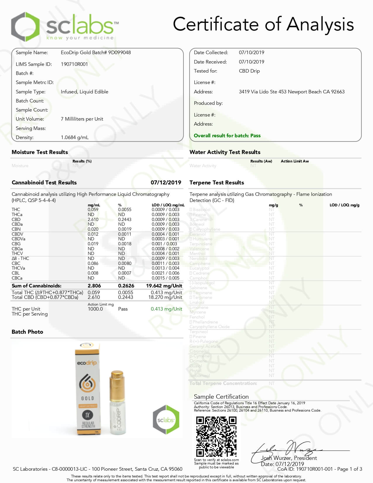 Eco Sciences CBD Tincture Additive ECODRIP Gold Lab Report