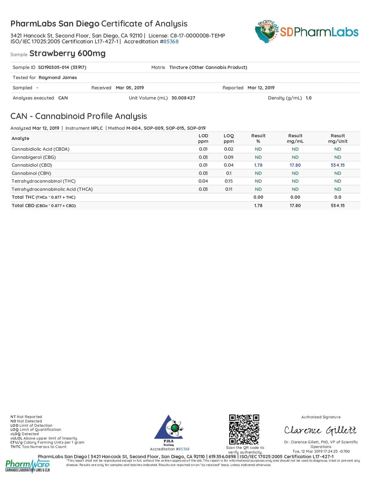 El Gallo CBD Tincture Natural Strawberry 600mg Lab Report