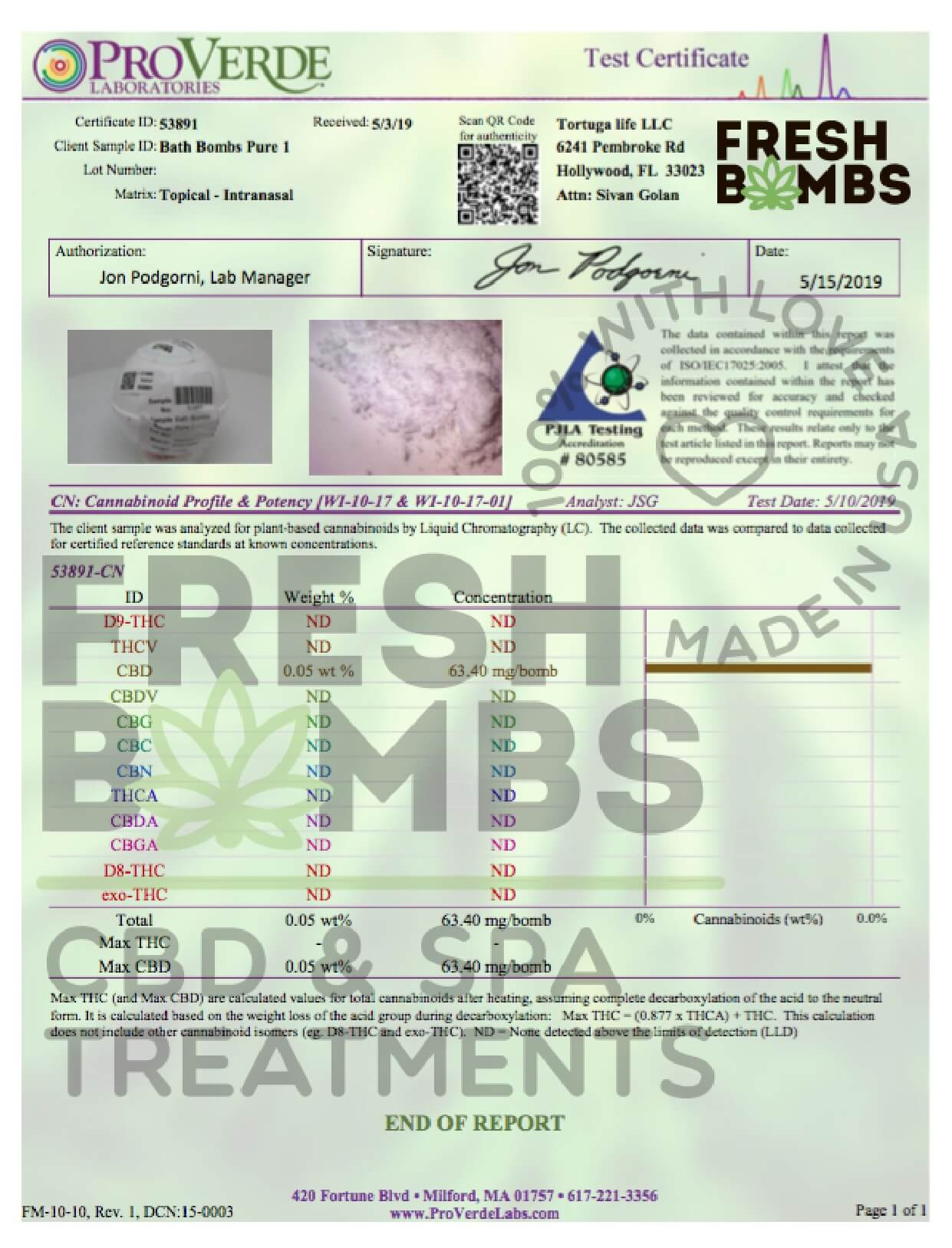 Fresh Bombs CBD Bath Pure Bath Bomb 50mg Lab Report