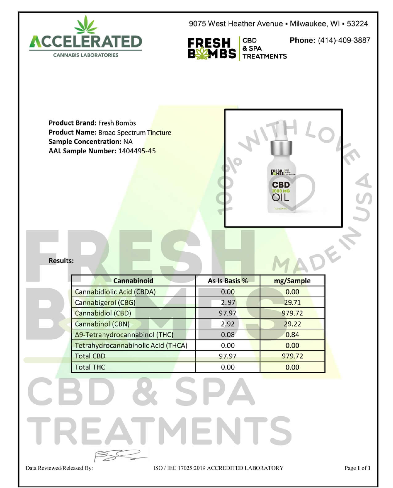 Fresh Bombs CBD Tincture Broad Spectrum Oil 1000mg Lab Report