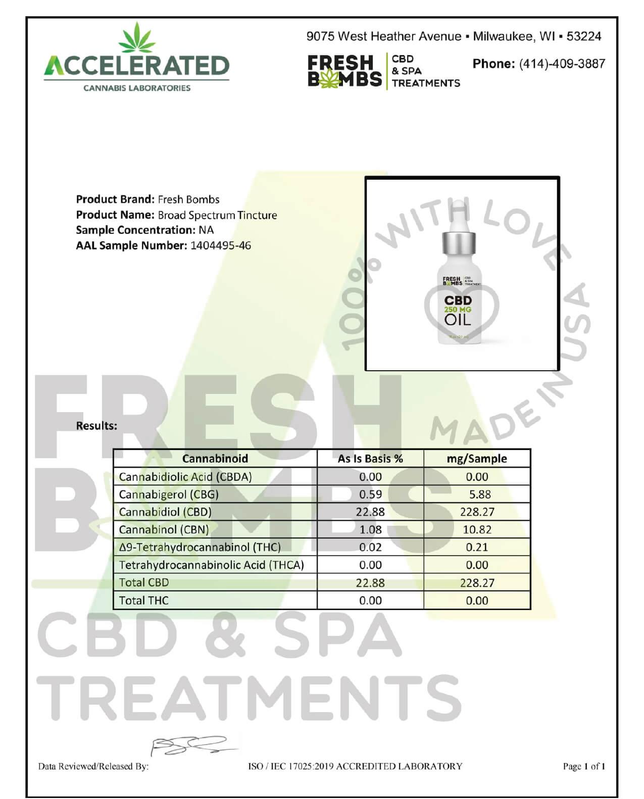 Fresh Bombs CBD Tincture Broad Spectrum Oil 250mg Lab Report