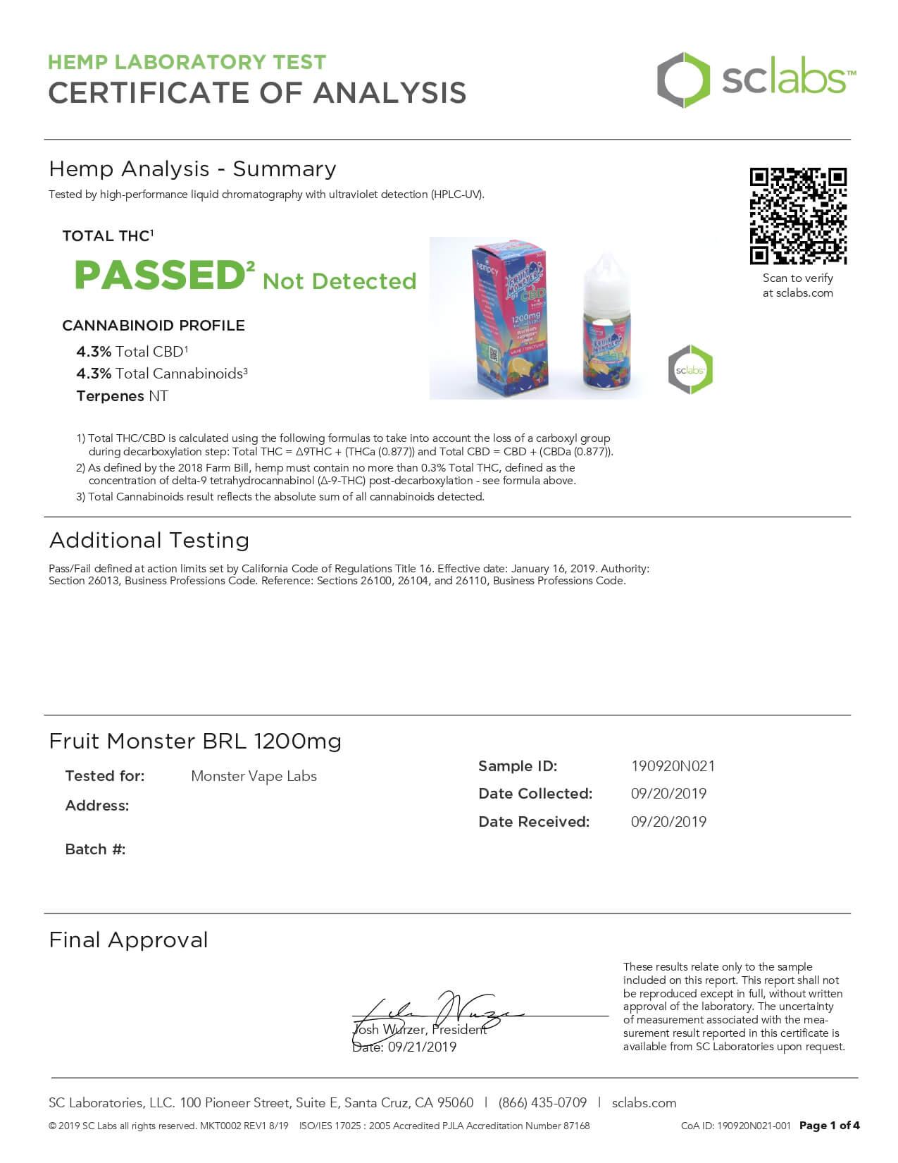 Fruit Monster CBD Vape Blueberry Raspberry Lemon 1200mg Lab Report