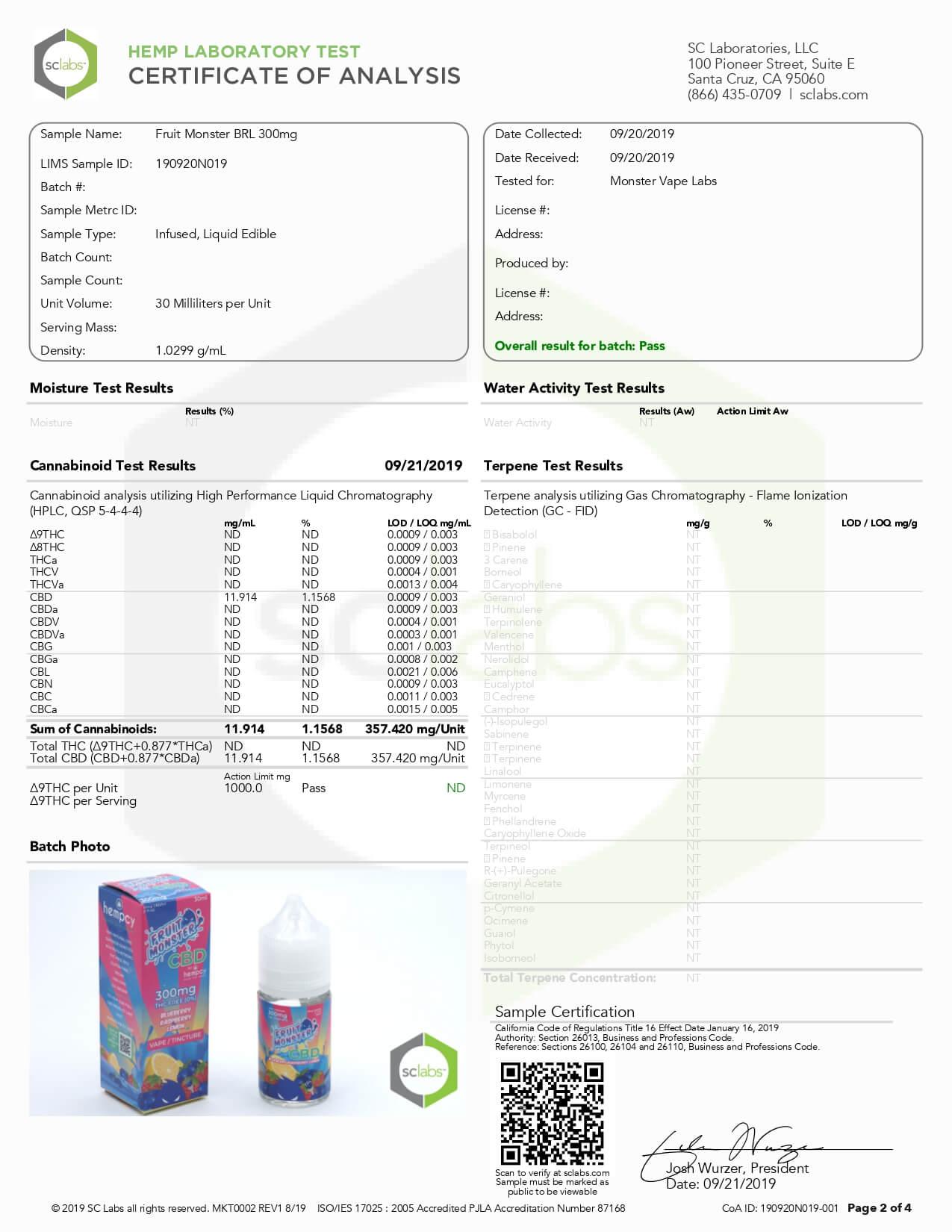 Fruit Monster CBD Vape Blueberry Raspberry Lemon 300mg Lab Report