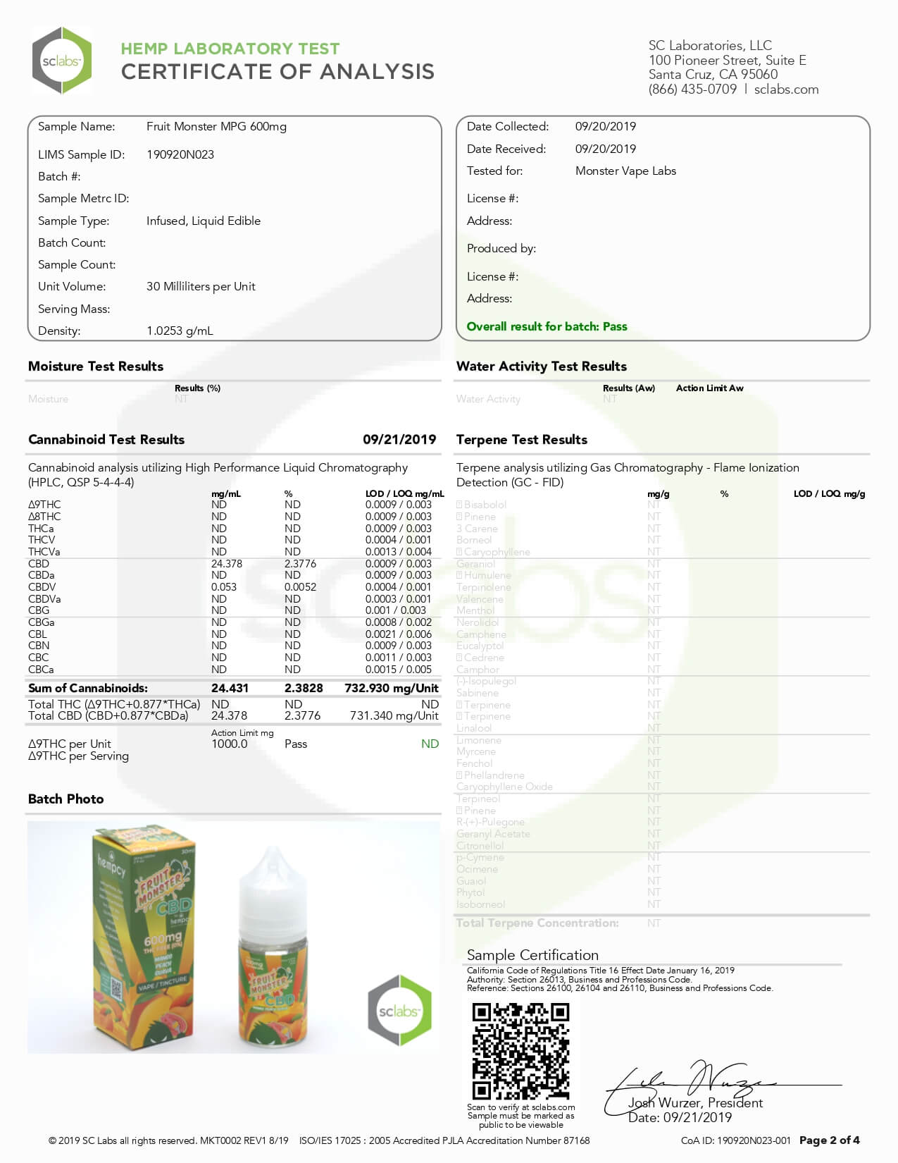 Fruit Monster CBD Vape Mango Peach Guava 600mg Lab Report
