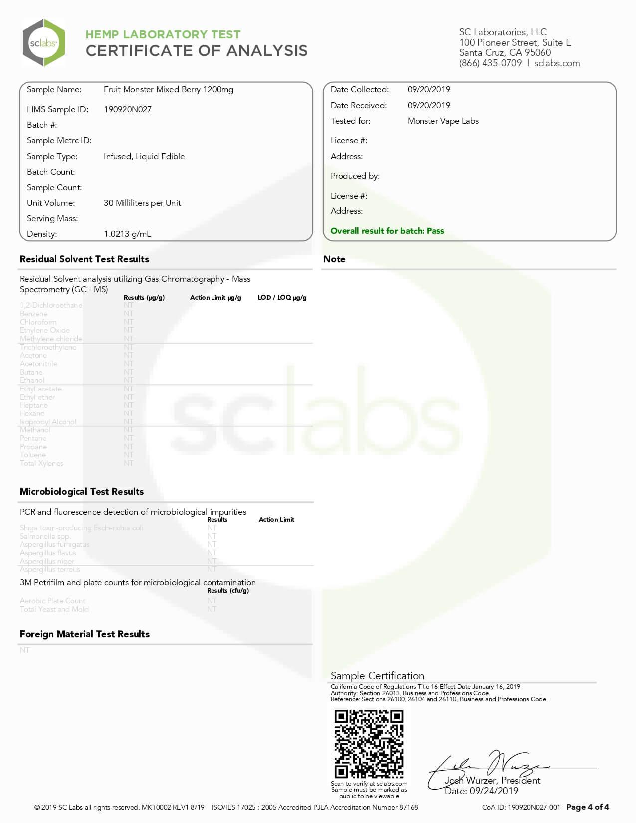 Fruit Monster CBD Vape Mixed Berry 1200mg Lab Report