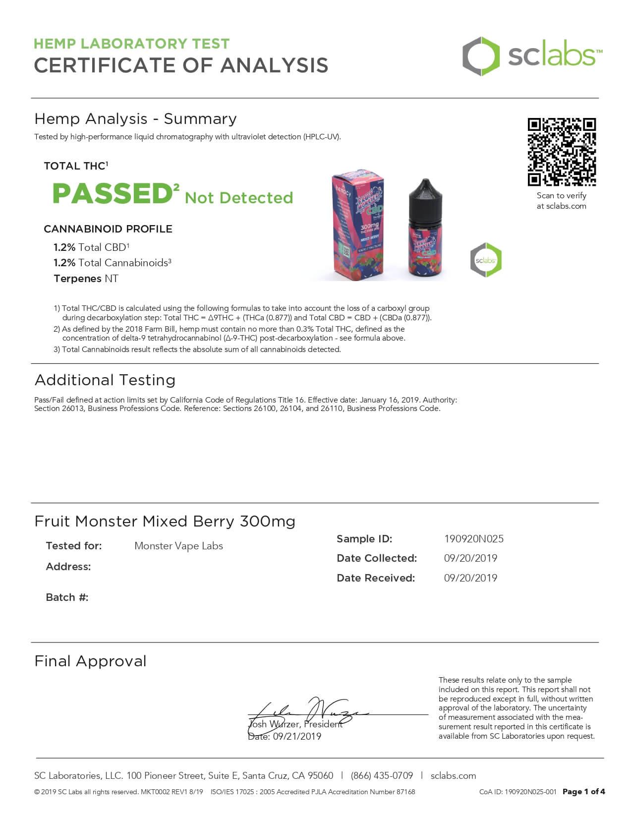 Fruit Monster CBD Vape Mixed Berry 300mg Lab Report