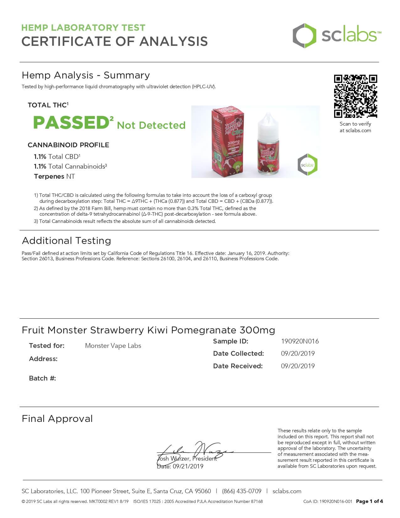 Fruit Monster CBD Vape Strawberry Kiwi Pomegranate 300mg Lab Report