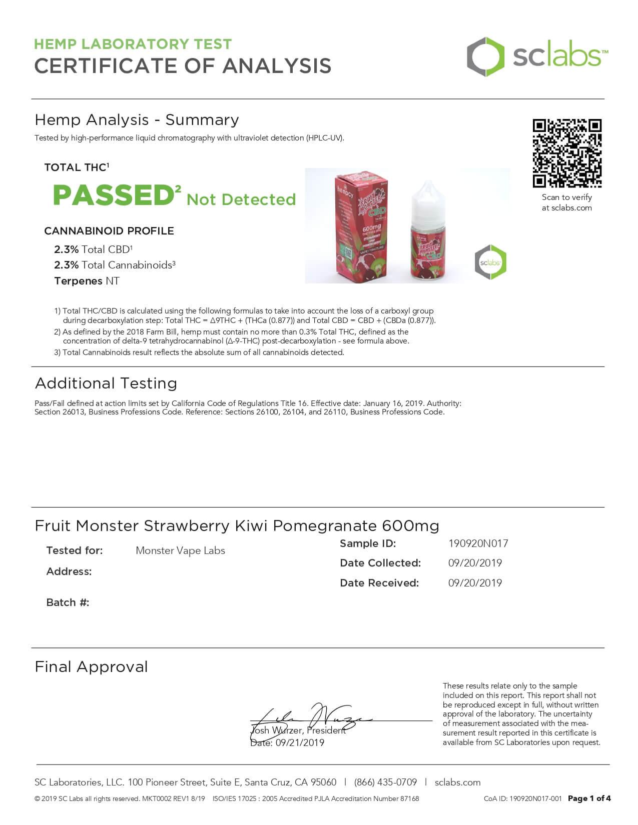 Fruit Monster CBD Vape Strawberry Kiwi Pomegranate 600mg Lab Report