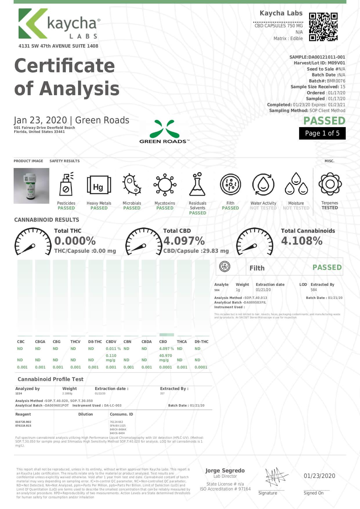 Green Roads CBD Capsules 750mg Lab Report