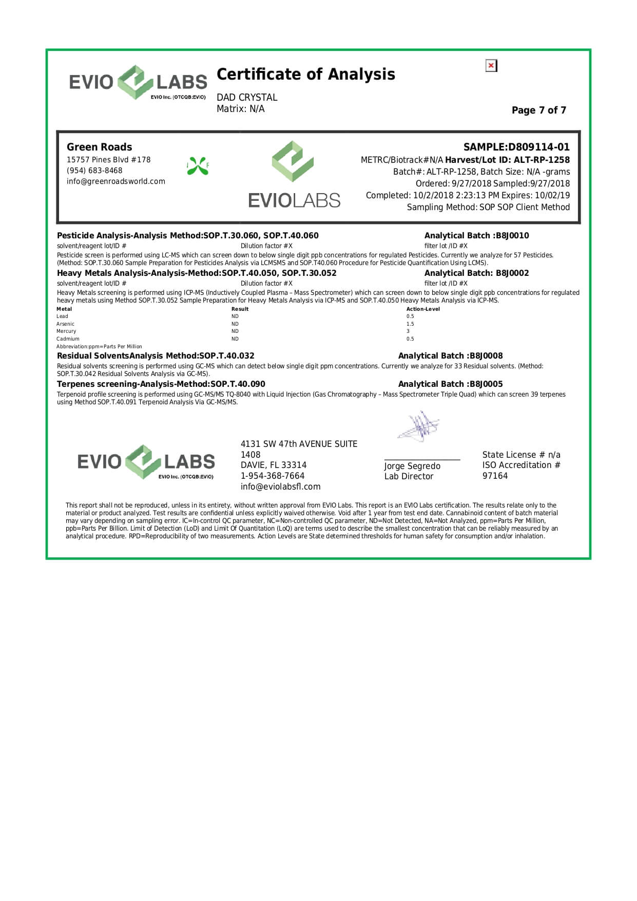 Green Roads CBD Concentrate Dab Crystals 1000mg Lab Report