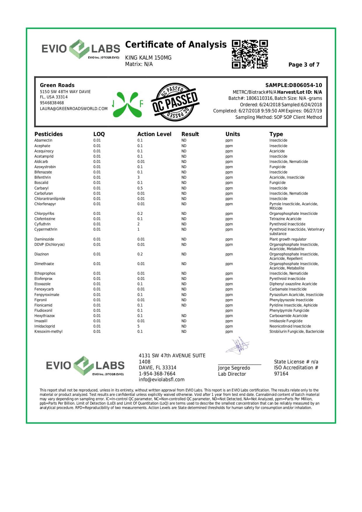 Green Roads CBD Pet Tincture KingKalmCBD Canine Formula 150mg Lab Report