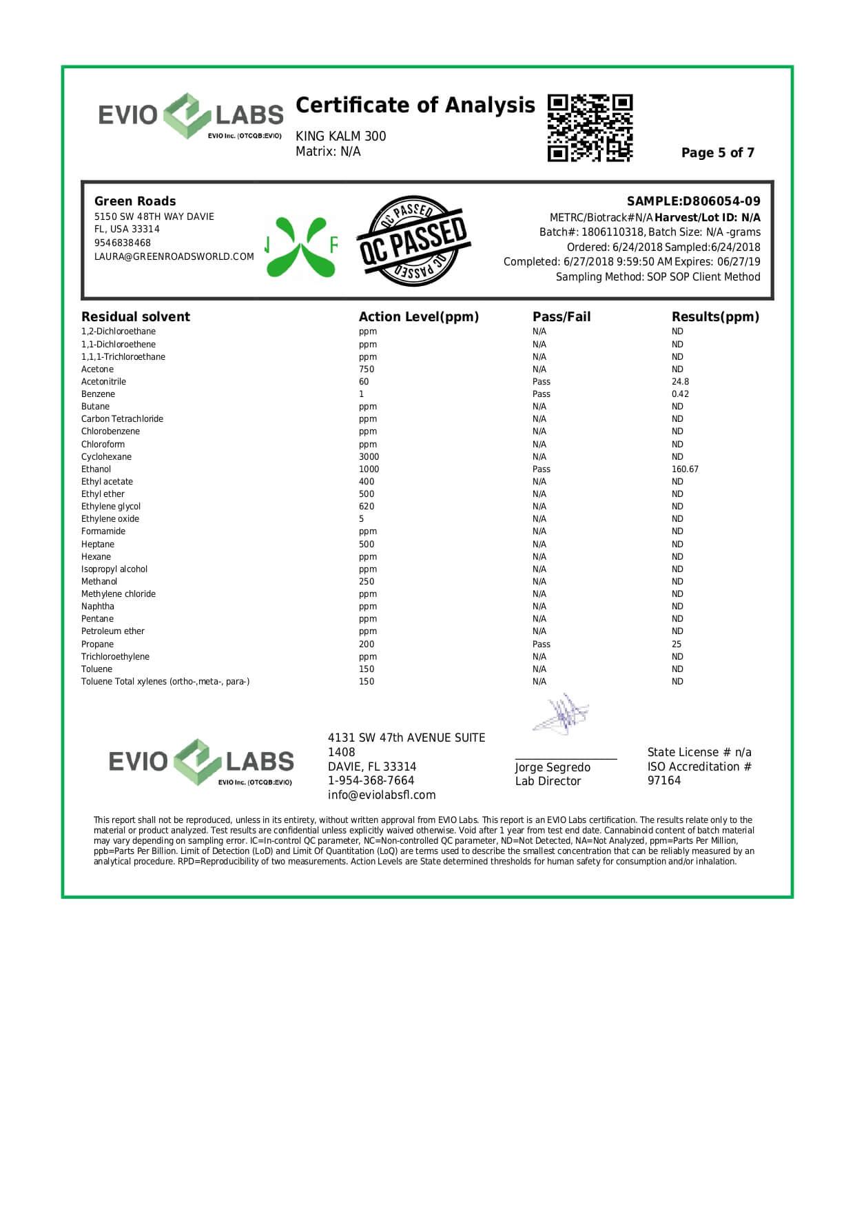 Green Roads CBD Pet Tincture KingKalmCBD Canine Formula 300mg Lab Report