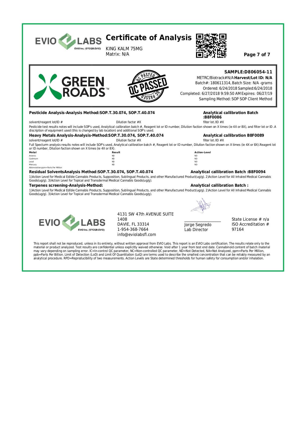 Green Roads CBD Pet Tincture KingKalmCBD Canine Formula 75mg Lab Report