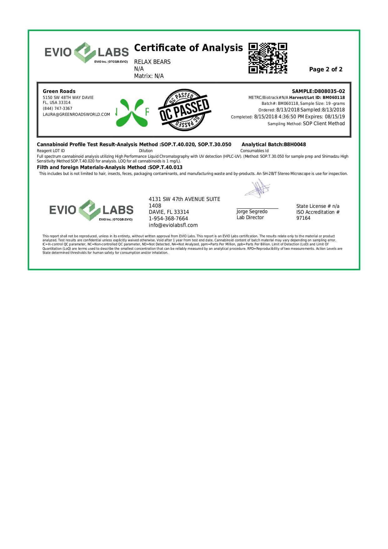 Green Roads CBD Relax Bears 300mg Lab Report