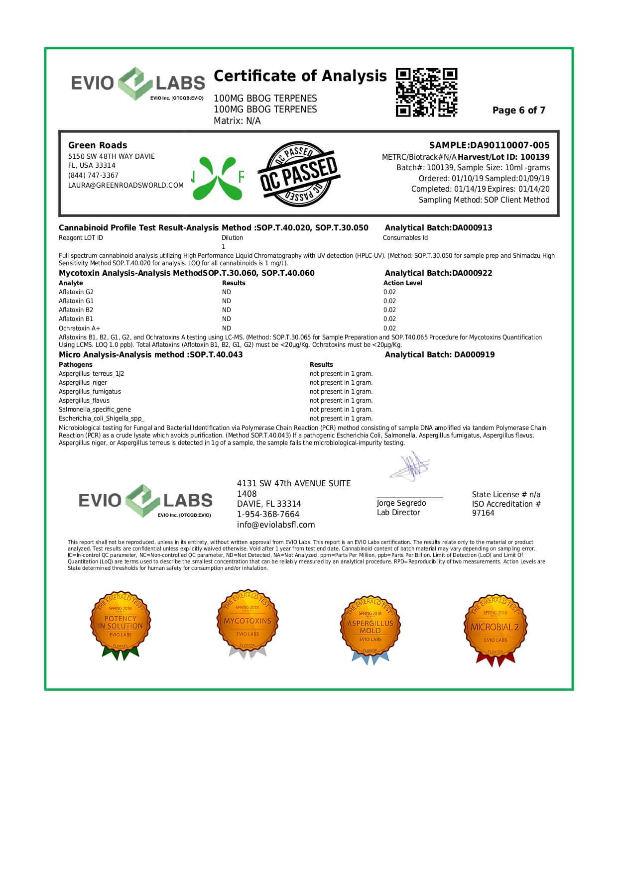 Green Roads CBD Terpenes Oil Blueberry OG 100mg Lab Report