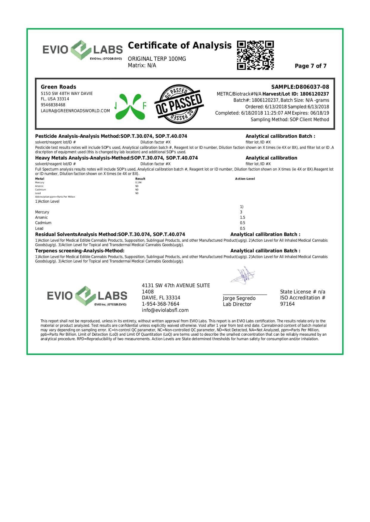 Green Roads CBD Terpenes Oil Original Nectar Lab Report