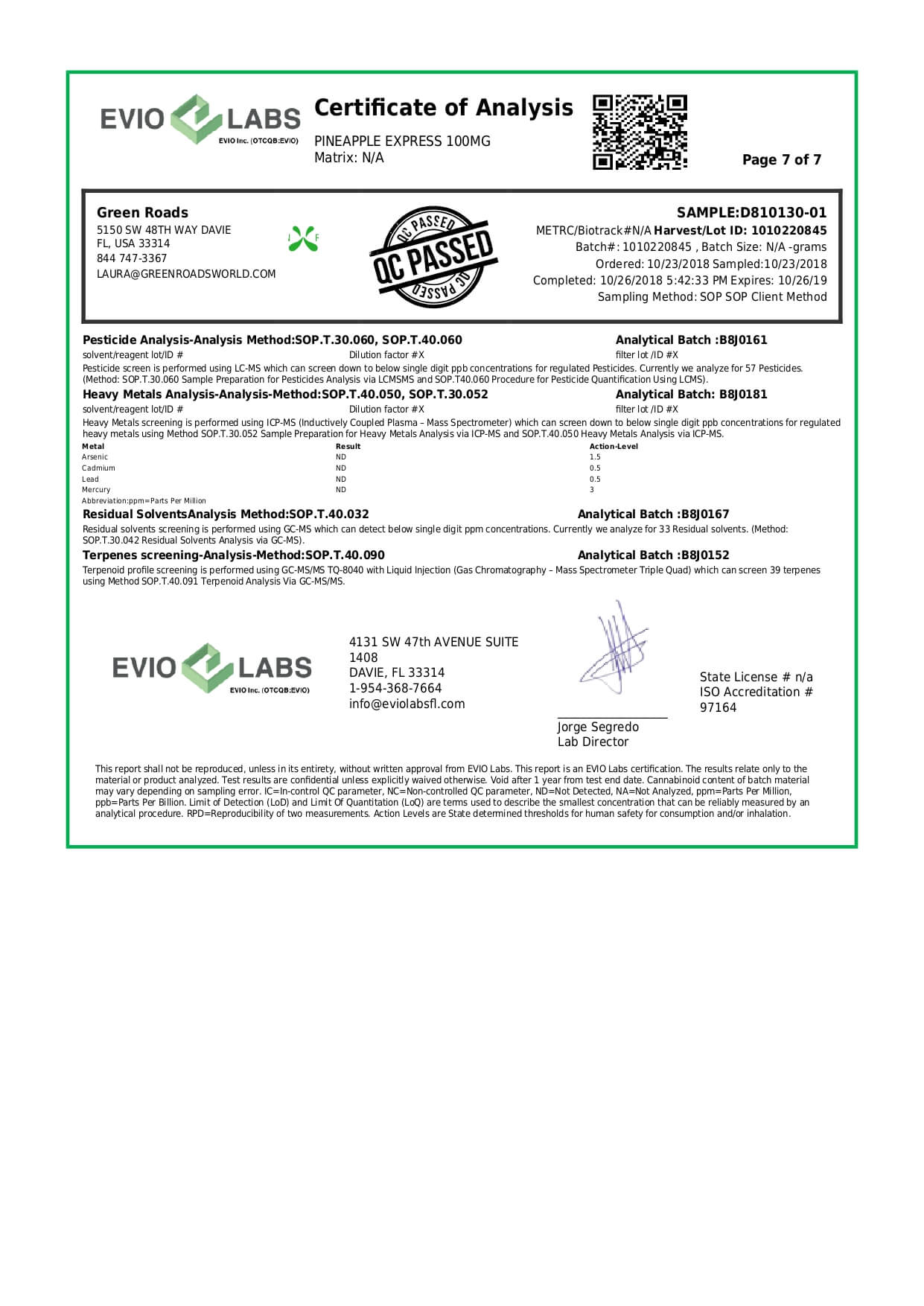 Green Roads CBD Terpenes Oil Pineapple Express 100mg Lab Report