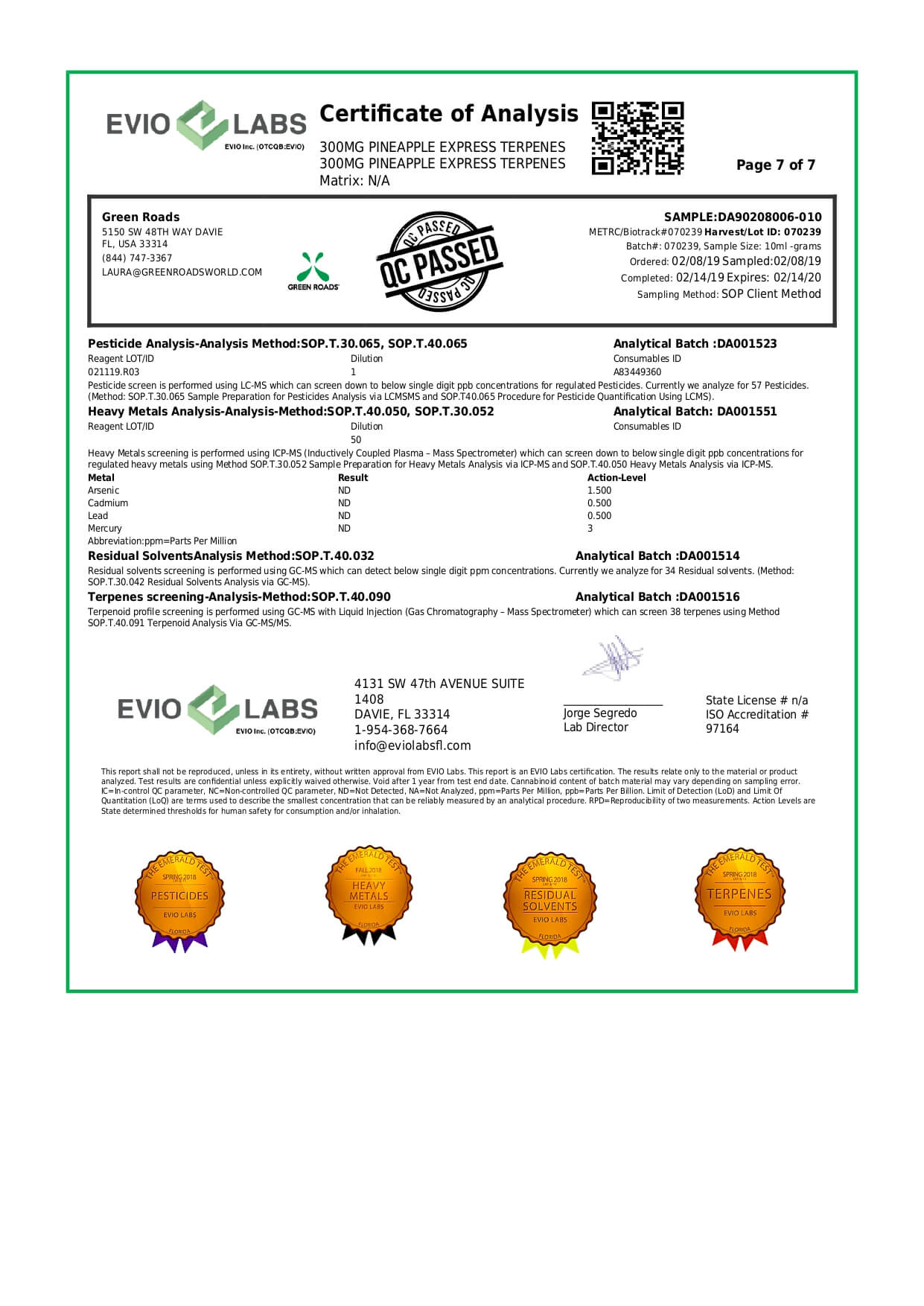 Green Roads CBD Terpenes Oil Pineapple Express 300mg Lab Report
