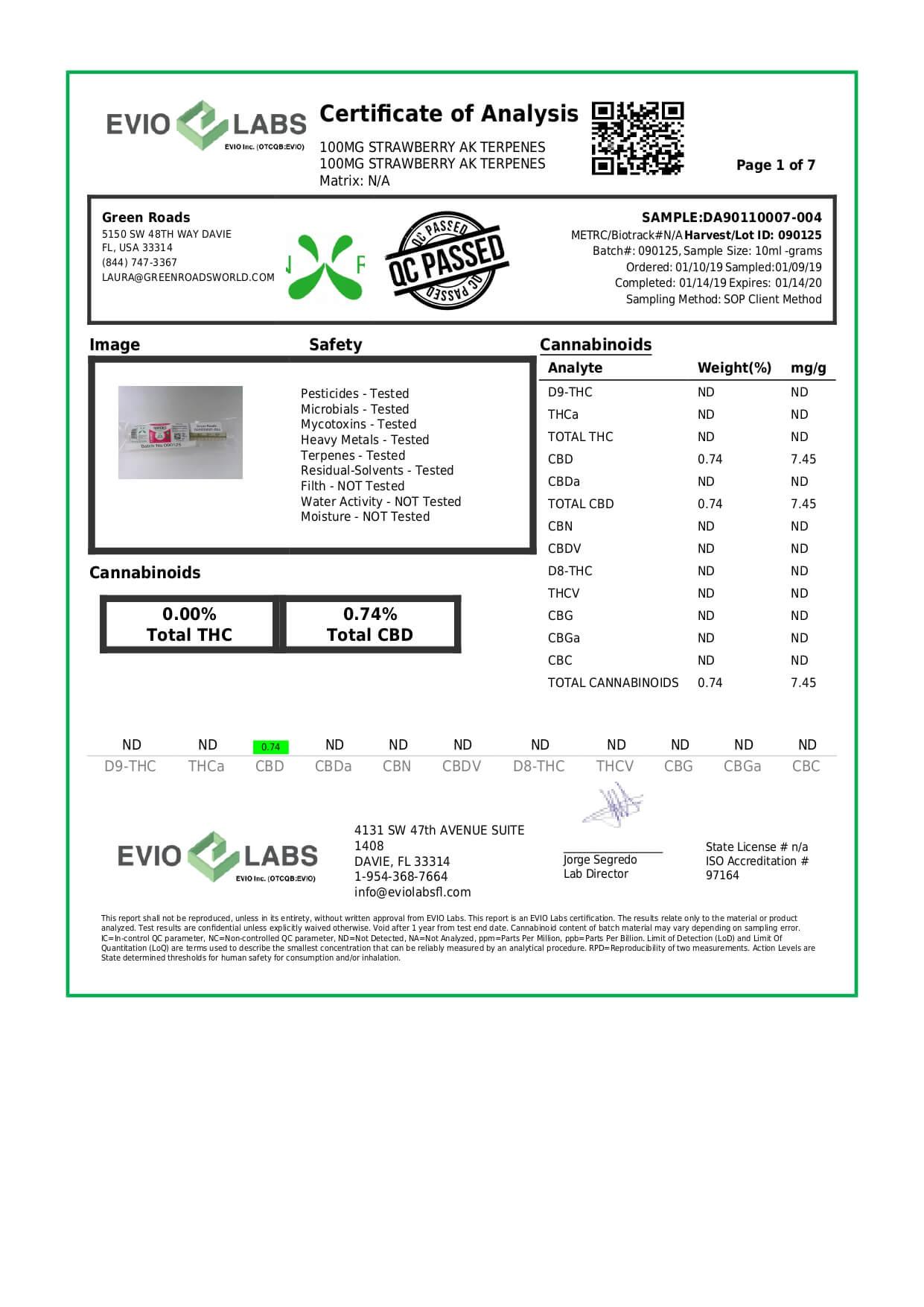 Green Roads CBD Terpenes Oil Strawberry AK 100mg Lab Report