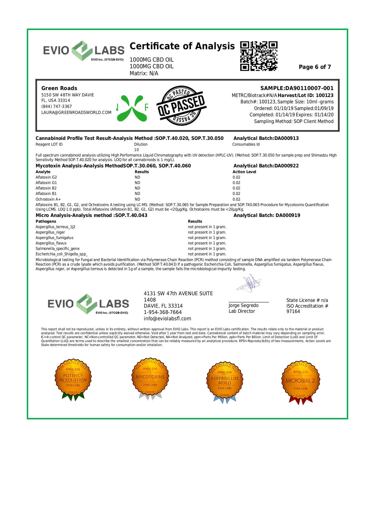 Green Roads CBD Tincture 1000mg Lab Report